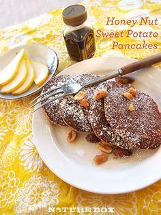 Honey Nut Sweet Potato Pancakes