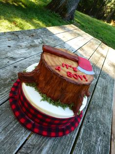 Lumberjack cake Add something as a topper. Possibly deer head, antler rack, incorporate J or Jayce onntop