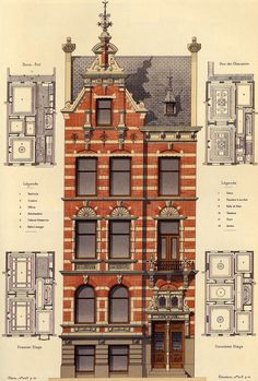 Design for a two-family house, Rotterdam / architect: J. - Design for a two-family house, Rotterdam / architect: J. Verheul – Architecture and Art – Desig - Architecture Classique, Classic Architecture, Victorian Architecture, Architecture Drawings, Architecture Portfolio, Architecture Details, House Architecture, Historical Architecture, Architecture Websites