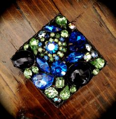 Vintage Weiss Blue and Green Brooch.