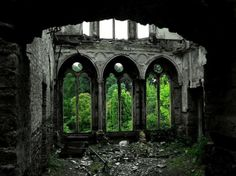 Forest Ruins In Hafodunos Hall, Llangernyw, North Wales Abandoned Buildings, Abandoned Mansions, Old Buildings, Abandoned Places, Places Around The World, Around The Worlds, Christ Of The Abyss, North Wales, Wales Uk