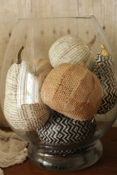 Burlap and book pages mod podged onto pumpkins