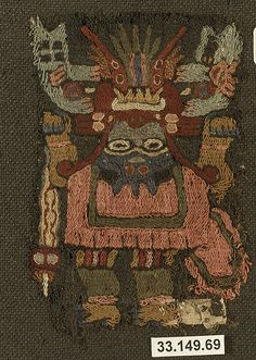 Embroidered Mantle Fragment Date: 3rd–2nd century BCE Geography: Peru Culture: Paracas Medium: Camelid hair, cotton Accession Number: 33.149.69