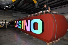 Casino Signage | Color-Changing LED Letters | Casino Pylon In Shop | Comanche Nation Casino by I-5 Design & Manufacture