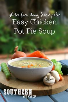 Easy Gluten Free Chicken Pot Pie Soup Recipe – Hello comfort food in a bowl! This Healthy Soup Recipe is so simple to make and is creamy and delicious whilst gluten free, dairy free, paleo, whole 30 friendly and grain free. It is a family favorite and one of our best soup recipes as it can be made in advance and frozen (perfect for meal prep!) to defrost and reheat later. There is even a vegan option and you can make it in the thermomix.