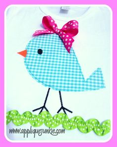 Simple Birdy Applique Design ~ this would be cute with something cute under it like Chicks Rule :D