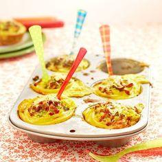 Nudelnester mit Speck und Pilzen -  Die Nudelnester sind prima als kleine leichte Vorspeise. Auch gut auf einem Buffet, zum Mitnehmen ins Büro oder zum Pickni
