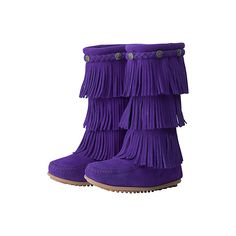 Minnetonka Fringe Boot ($68) ❤ liked on Polyvore featuring shoes, boots, kids shoes, 44. wrestling shoes. and baby
