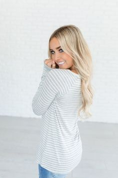 Stripe Staple Top - Grey