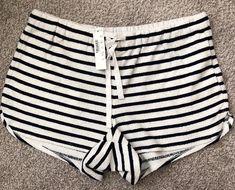 jcrew womens striped terry shorts, size S, Ivory/navy, New  | eBay
