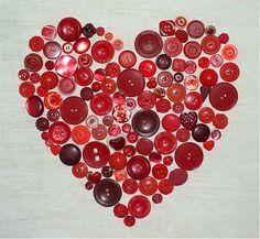 red valentine button love!