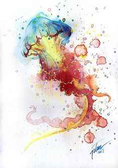 Humming Bird Discover Jellyfish watercolour painting x inches original painting Jellyfish watercolour painting x inches original painting Watercolor Jellyfish, Jellyfish Painting, Watercolor Fish, Watercolor Animals, Watercolour Painting, Jellyfish Drawing, Painting Art, Art Sketchbook, Cat Art