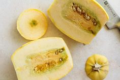 An easy tutorial on how to cut, de-seed, and roast spaghetti squash. Spaghetti squash makes for a delicious and healthy gluten-free meal! Spaghetti Squash Noodles, Spaghetti Squash Casserole, Whole Food Recipes, Cooking Recipes, How To Make Spaghetti, Healthy Gluten Free Recipes, Acorn Squash, Pasta Dishes, Roast
