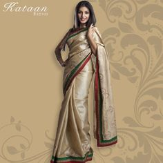 Fawn Color Semi Tussor Saree With Embroidery And Patch Work