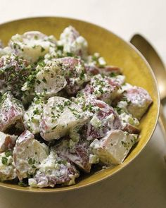Warm Potato Salad with Goat Cheese from Martha Stwart. Tart goat cheese gradually melts onto warm vinaigrette-covered potatoes to create a creamy coating. Goat Cheese Recipes, Goat Cheese Salad, Cheese Food, Cheese Art, Warm Potato Salads, Savory Salads, Cooking Recipes, Healthy Recipes, Cooking Food
