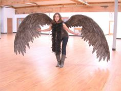 Whoa... Huge charcoal colored costume wings by Geahk Burchill & gb Designs. $690.00, via Etsy. (pinning for feather placement)