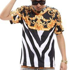 Zero Men's Leopard Pompous Hipster Religious Hip Hop T-Shirt