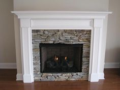 fireplace white paint dark stain mantle | Wood Fireplace Mantel Surround | Leesburg Mantel | MantelCraft
