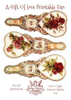 Wings of Whimsy: Free Printable Victorian Rose Fan - A Gift Of Love - Part 2 - free for personal use