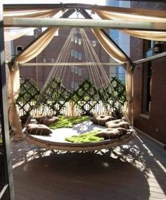 Cool 39 Relaxing Outdoor Hanging Beds For Your Home : 39 Relaxing Outdoor Hanging Beds For Your Home With White Brown Green Hanging Bed Pillow Blanket Wall Hardwood Floor And Curtain With Garden View Outdoor Hanging Bed, Hanging Beds, Outdoor Decor, Hanging Chairs, Outdoor Play, Outdoor Beds, Backyard Trampoline, Round Beds, Relax
