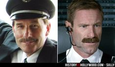 Flight 1549 co-pilot Jeff Skiles and actor Aaron Eckhart. See more pics of the real people behind the Sully movie characters: http://www.historyvshollywood.com/reelfaces/sully/