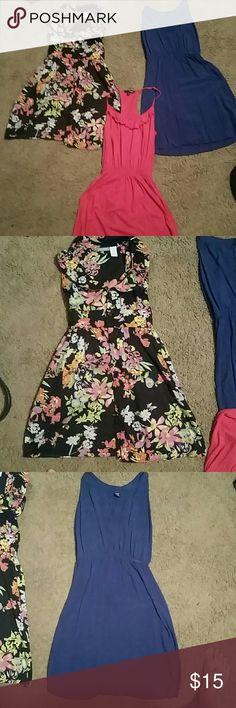 Cute Mini dresses pink blue black flowered 0 XS 3 Cute mini dresses pink, blue, and black floral Dresses Mini