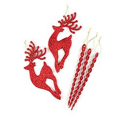 Red Glitter Icicle or Reindeer Ornaments at Big Lots.