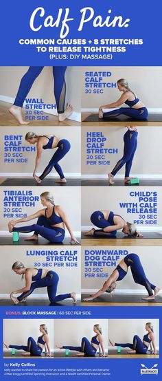Calf Pain: Common Causes and 8 Stretches to Release Tightness Calf Muscle Workout, Muscle Fitness, Yoga Fitness, Fitness Tips, Stretch Calf Muscles, Calf Pain, Muscle Stretches, Stretching Exercises, Best Calf Stretches