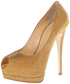 Giuseppe Zanotti Women's E56080 Platform Pump. Peep-toe pump in allover metallic studs featuring partially-concealed platform and covered heel.