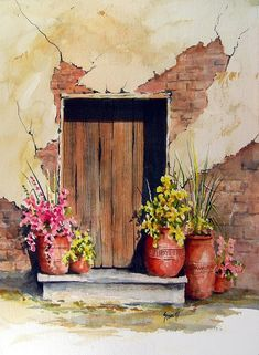 Flowers Print featuring the painting Door With Pots by Sam Sidders
