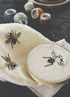 Embroidered bees