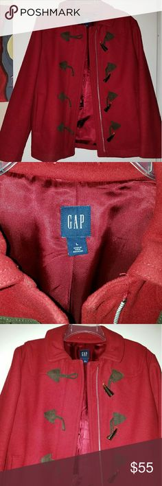 Red Gap Peacoat Worn a few times. Red peacoat with zipper and buttons down. 78% wool 22% nylon. Great Condition! GAP Jackets & Coats Pea Coats