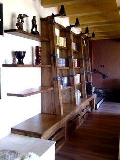Rustikální knihovna z masivu s ručně kovanými doplňky. Rustic library with hand-forged accessories. Shelving, Bookcase, Home Decor, Shelves, Decoration Home, Room Decor, Shelving Units, Book Shelves, Home Interior Design
