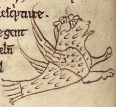Merton College Library, MS. 249, Folio 5v  This beast is identified as an ostrich; clearly the artist had no idea what it should look like.