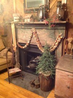 love this rustic prim mantel and all it's decor.