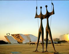 Brasilia - Brazil, South America - Os Guerreiros (The Warriors) or Os Candangos - This sculpture has become the symbol of the city. I visited here while living in Brazil with my family.
