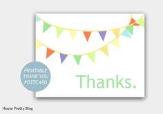 Thank you postcards (free printable)   DIY