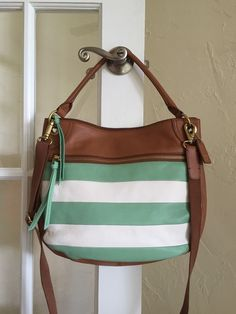 Fossil Karli Leather Patch Large Hobo Crossbody Winter Green SHB119  $248.00 #Fossil #Hobo