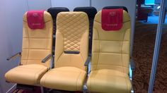 Acro's gold seats with 'Bugatti' styling to centre seat featured at the Low Cost Carriers Summit in Shenzhen, China October 2014