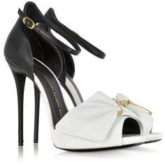 Giuseppe Zanotti Black and White Pin Sandal Stiletto Shoes, High Heels Stilettos, Pumps, Platform Stilettos, Black And White Sandals, Black White, White Shoes, White Platform Shoes, Sandals Platform