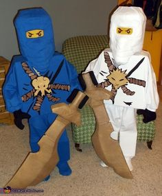 "MY Boys! Proud Mama, right here! ""Megan: My sons (Wells Jay, 7 & Owen Zane, 6) hoped to be Lego Ninjago characters for Halloween. Luckily, they have a crafty Mama. And, so began the creation of their..."""