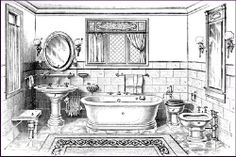 Classic ca. 1910 NY brownstone bathroom: china stool affixed to wall, crystal ball end glass towel bar, twin globe sconces, oval mirror, pair of toothbrush + cup holders, glass shelf w/ soap dish, pedastal sink, comb/brush holder, soiled towel basket, sponge holder, porcelain roman tub, loop over soap dish, glass towel bar, syphon jet toilet, recessed toilet paper holder, bidet under pier mirror, 2 more sconces.