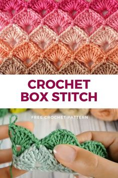 Crochet Box Stitch is the stitch of the week. This stitch is pretty in a single color yarn. It really comes into its own when worked in rows of graduating colors, or in alternating colors. This Crochet Box Stitch pattern uses both US and British terms so you can't get confused, and comes with step-by-step written instructions. Along with photos and even a downloadable photo and diagram for you to keep in your stitch reference files. This Crochet Box Stitch step-by-step guide, allows you… Crochet Box Stitch, Crochet Stitches Free, Crochet Stitches For Beginners, Afghan Crochet Patterns, Stitch Patterns, Knitting Patterns, Different Crochet Stitches, Crochet Stitches For Blankets, Crotchet Patterns