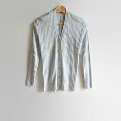 Pearl Gray Lurex Vintage Cardigan Ribbed Cardigan Jane by branda