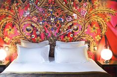 Love this bedroom at the Hotel du Petit Moulin designed by Christian Lacroix.