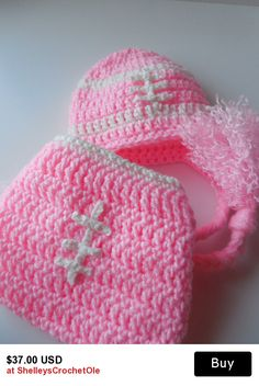37c9fbd8177 Pink Football Baby Girl Hat and Diaper Cover Set - Pink and White -  Handmade Crochet - Made to Order