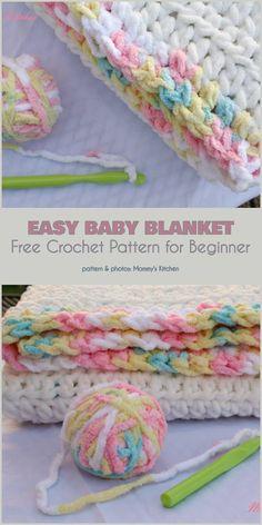 Easy Baby Blanket Free Crochet Pattern by helga Crochet Baby Blanket Free Pattern, Easy Crochet Blanket, Blanket Yarn, Free Crochet, Blanket Gifts, Beginner Crochet, Crochet Pillow, Crocheted Baby Afghans, Afghan Crochet