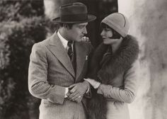 Still from the 1927 silent film Rolled Stockings starring Louise Brooks.  The film is lost.