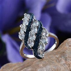 Espirito Santo Aquamarine and Blue Diamond Ring in Platinum Overlay Sterling Silver (Nickel Free)