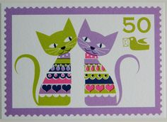 {Vintage Style Postage Stamp Postcard - Love Cats} love this!